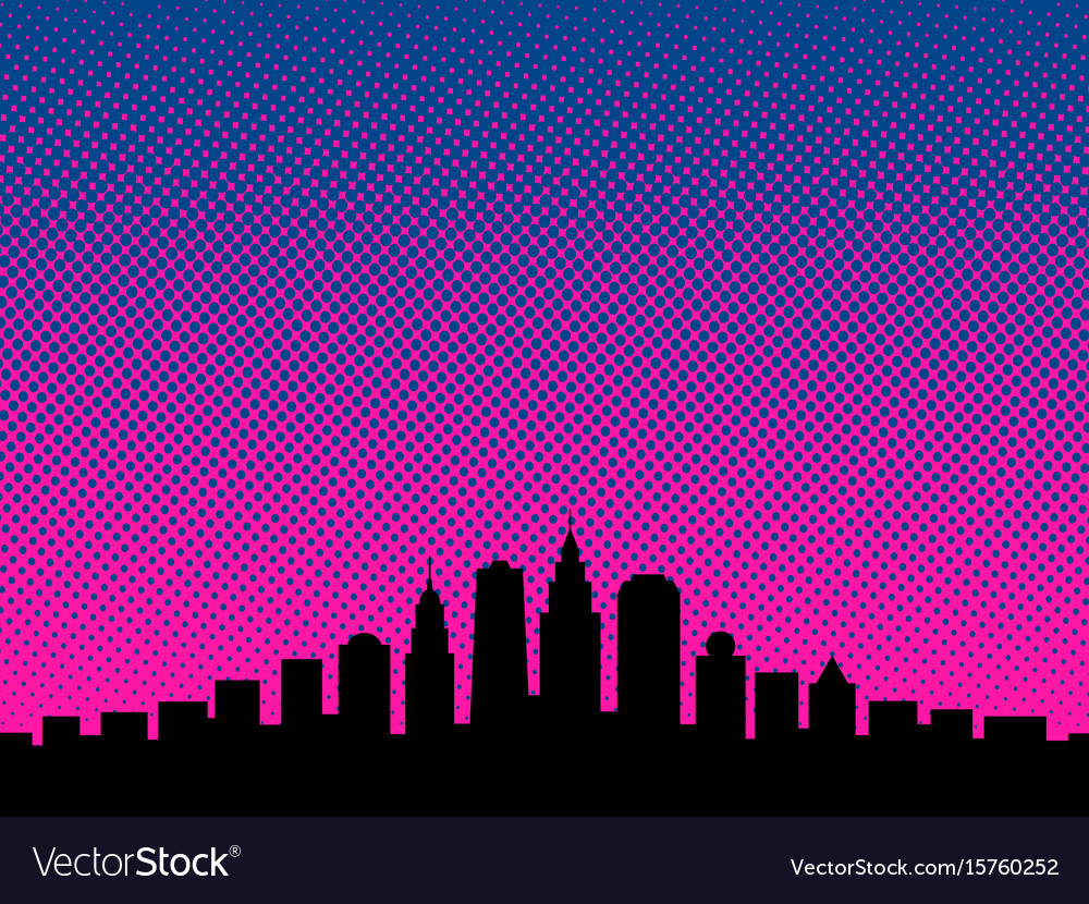 Big city cartoon book style background vector image