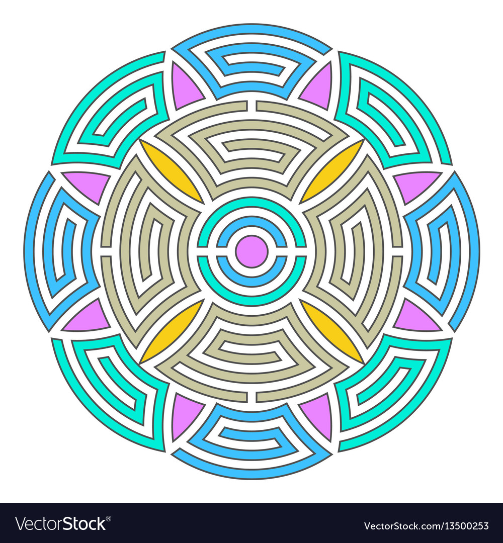 Geometric round ornament vector image