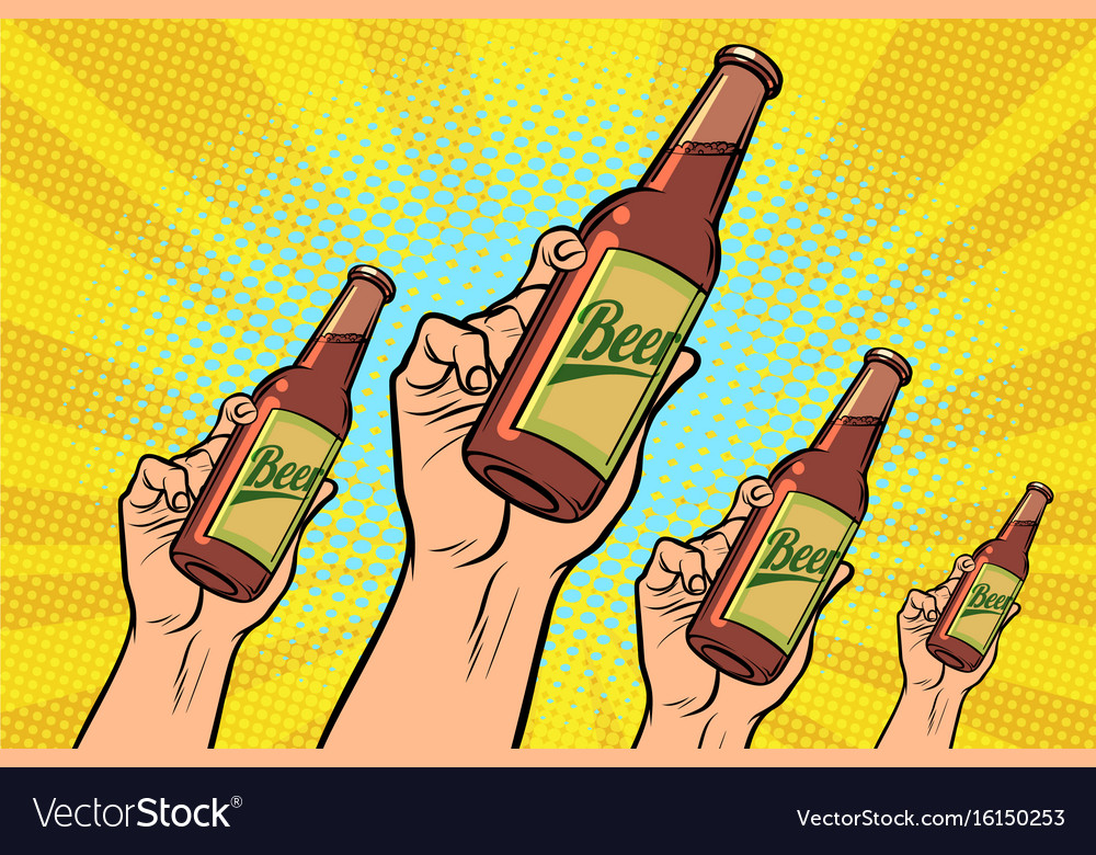 Many hands with a bottle of beer vector image
