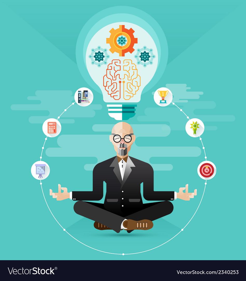 Old Business Meditation Create Idea Royalty Free Vector