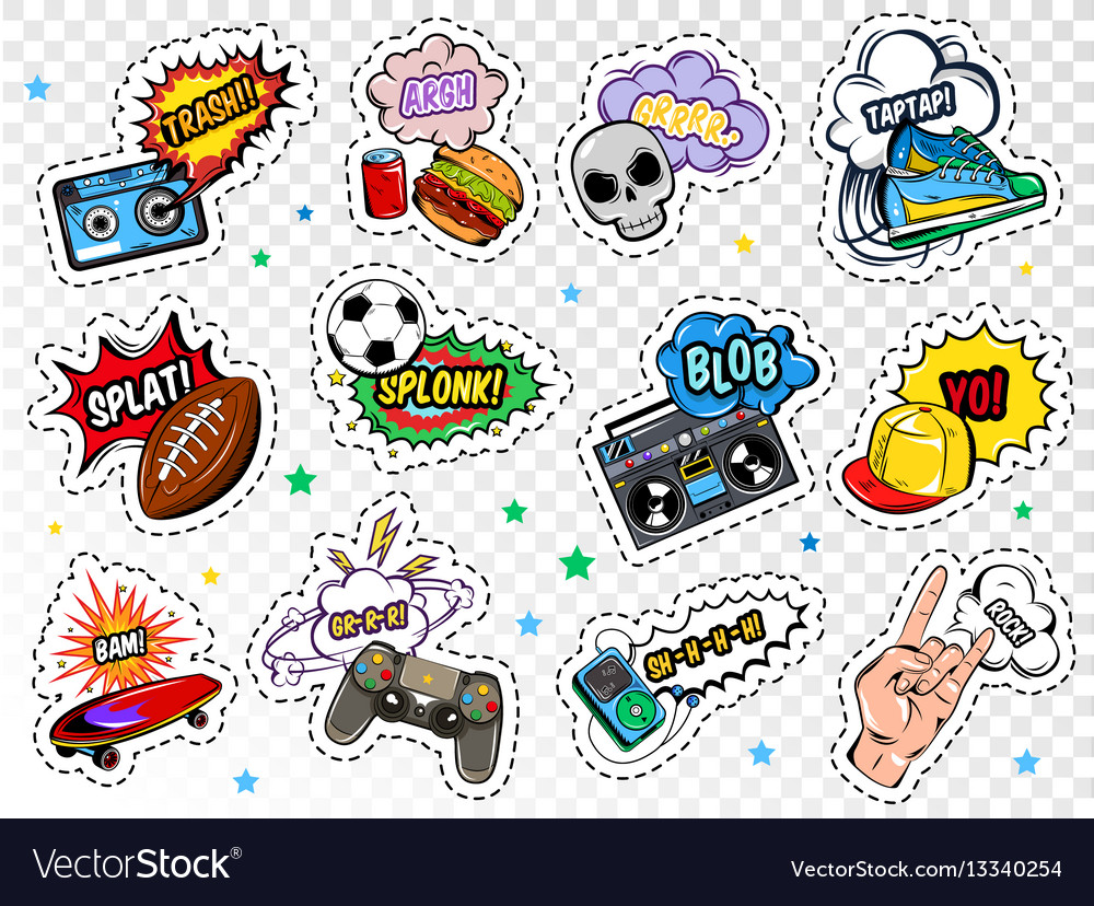 Comic boys stickers set vector image
