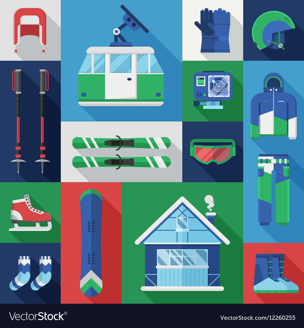 Active Winter Holidays Icons vector image