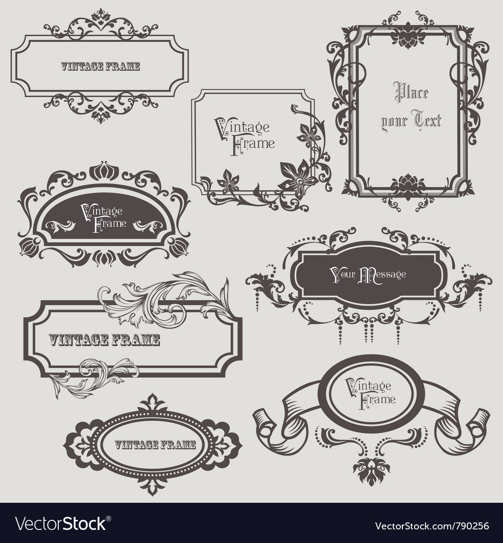Vintage frames elements vector image