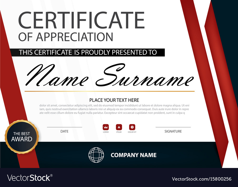 Red elegance horizontal certificate template vector image