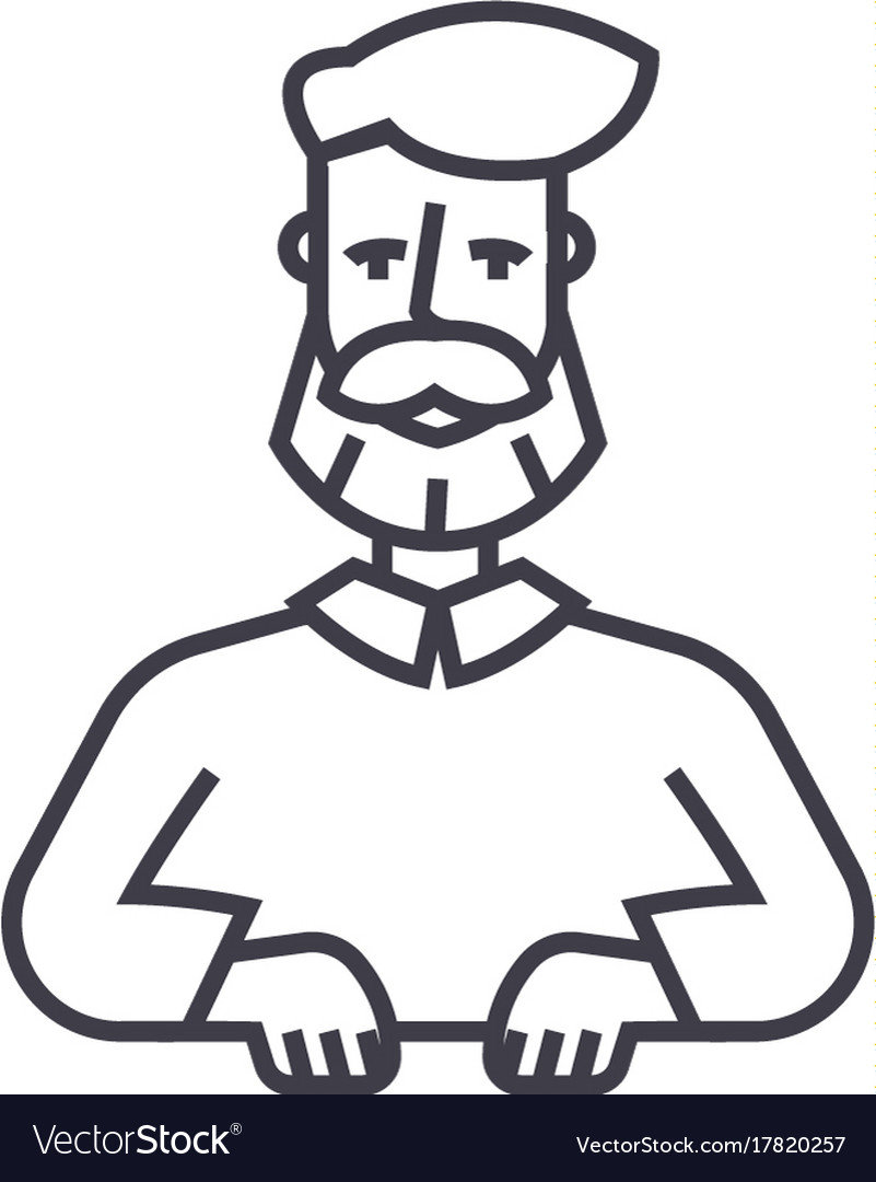 Beard man line icon sign on vector image