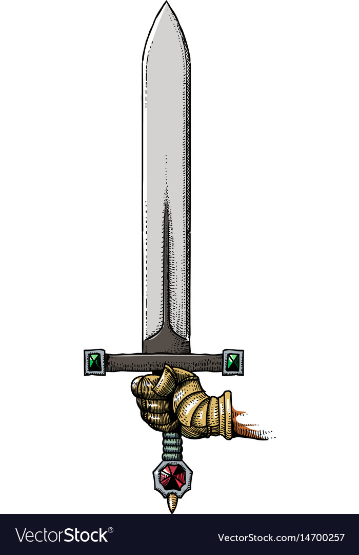 Cartoon image of hand holding sword vector image
