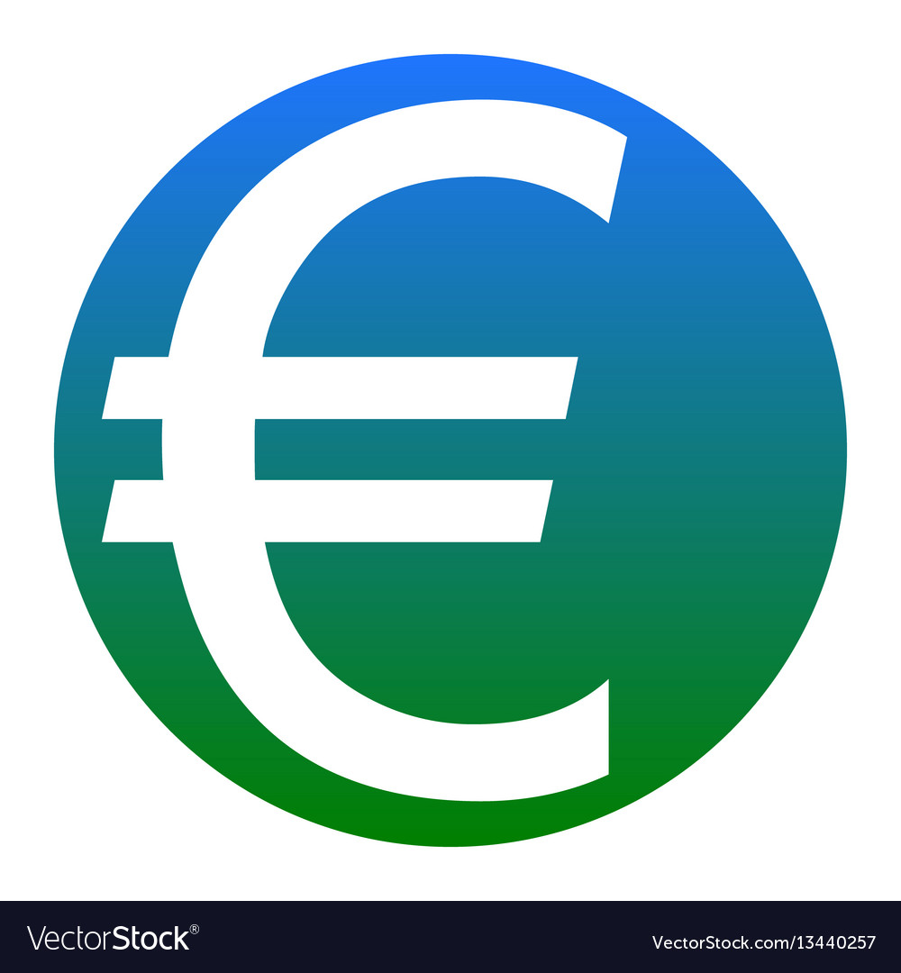 Euro sign white icon in bluish circle on vector image