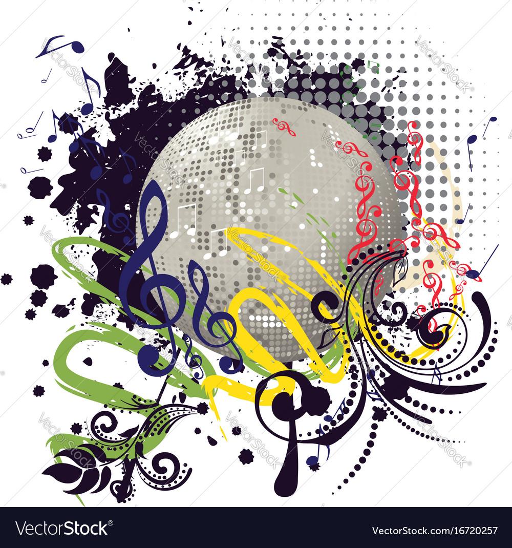 Grunge silver disco ball vector image