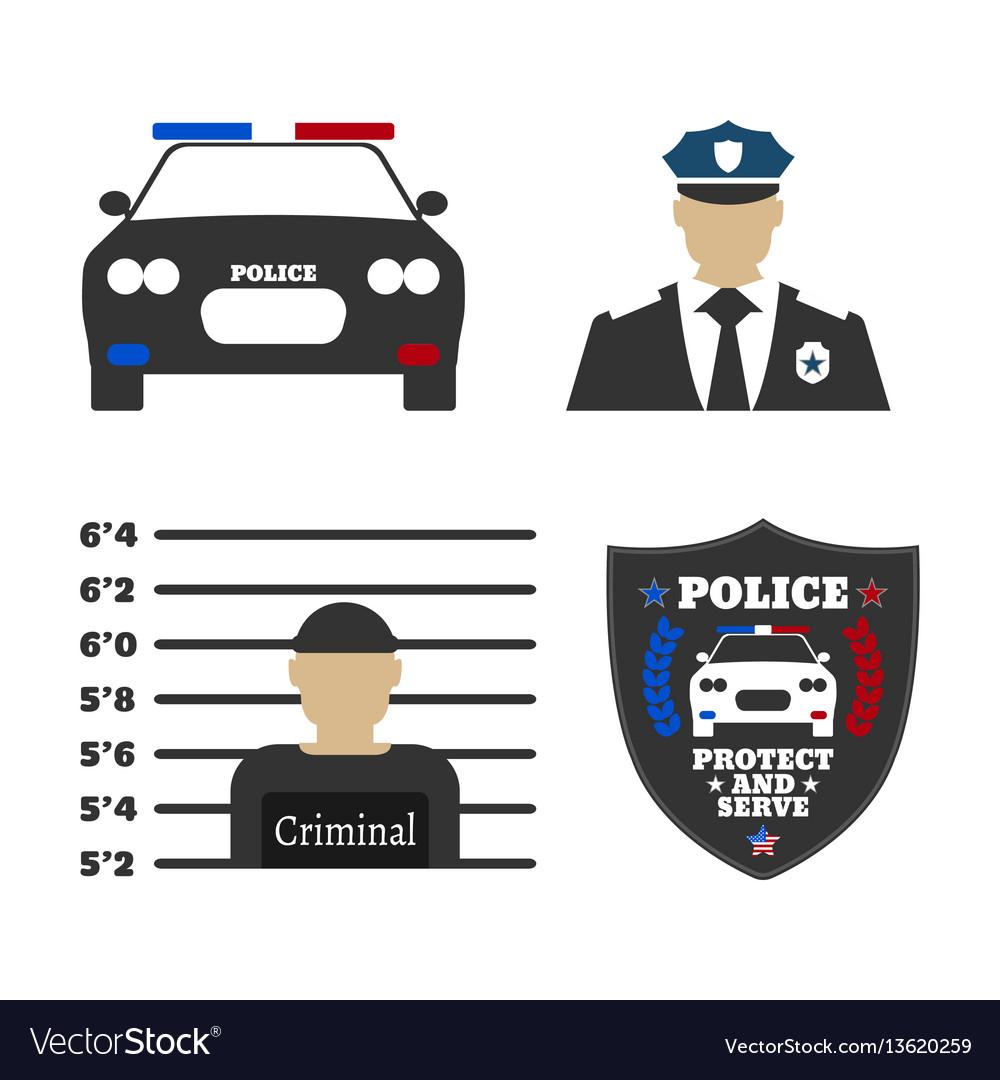 Police car police sign officer criminal man vector image