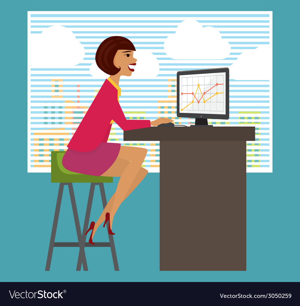 Workplace office desk Business woman working at vector image