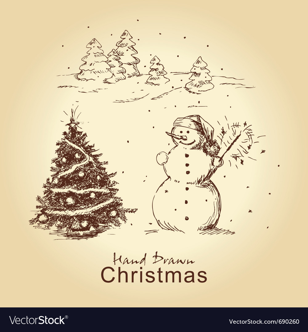 Christmas hand drawn card Vector Image