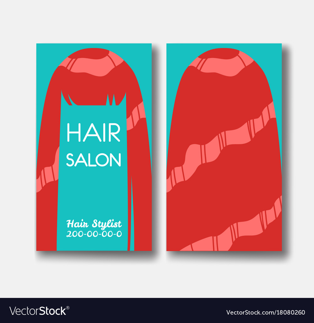 Hair Salon Business Card Templates With Red Hair Vector Image - Hair salon business card template