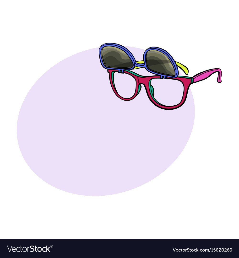 Retro wayfarer sunglasses with removable lenses vector image