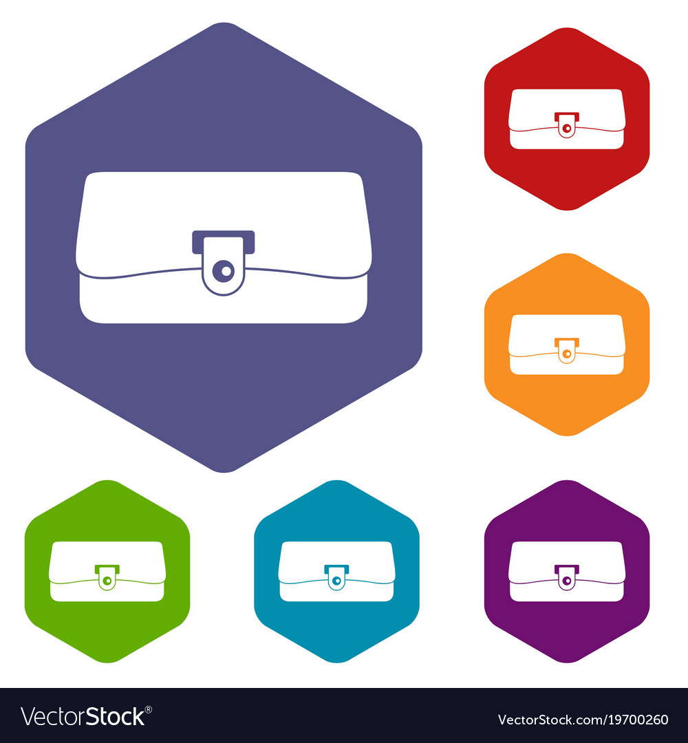 Small wallet icons set hexagon vector image