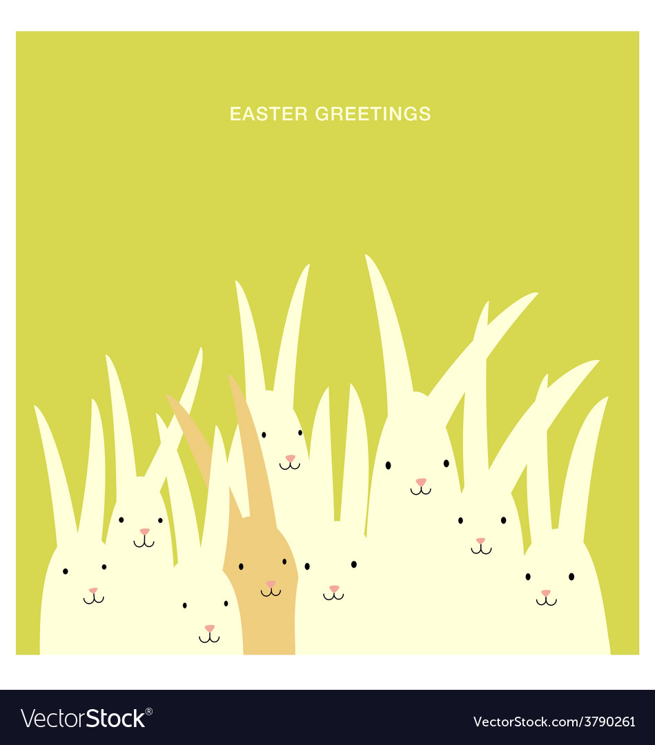 Easter greeting card design with bunnies vector image