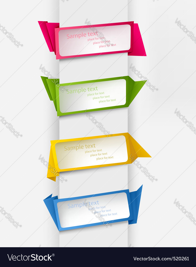 Set with five origami banners vector image
