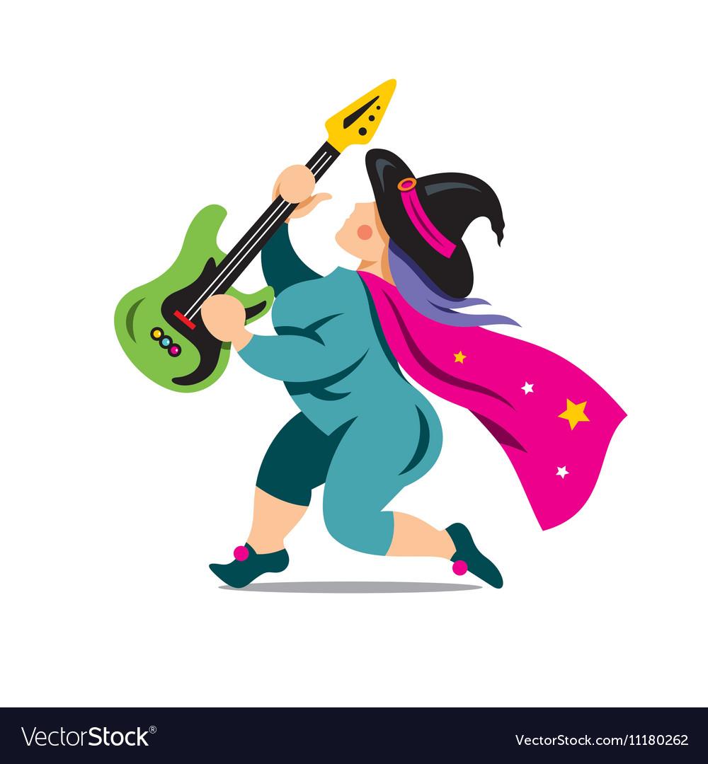 Halloween Witch with rock guitar Cartoon vector image