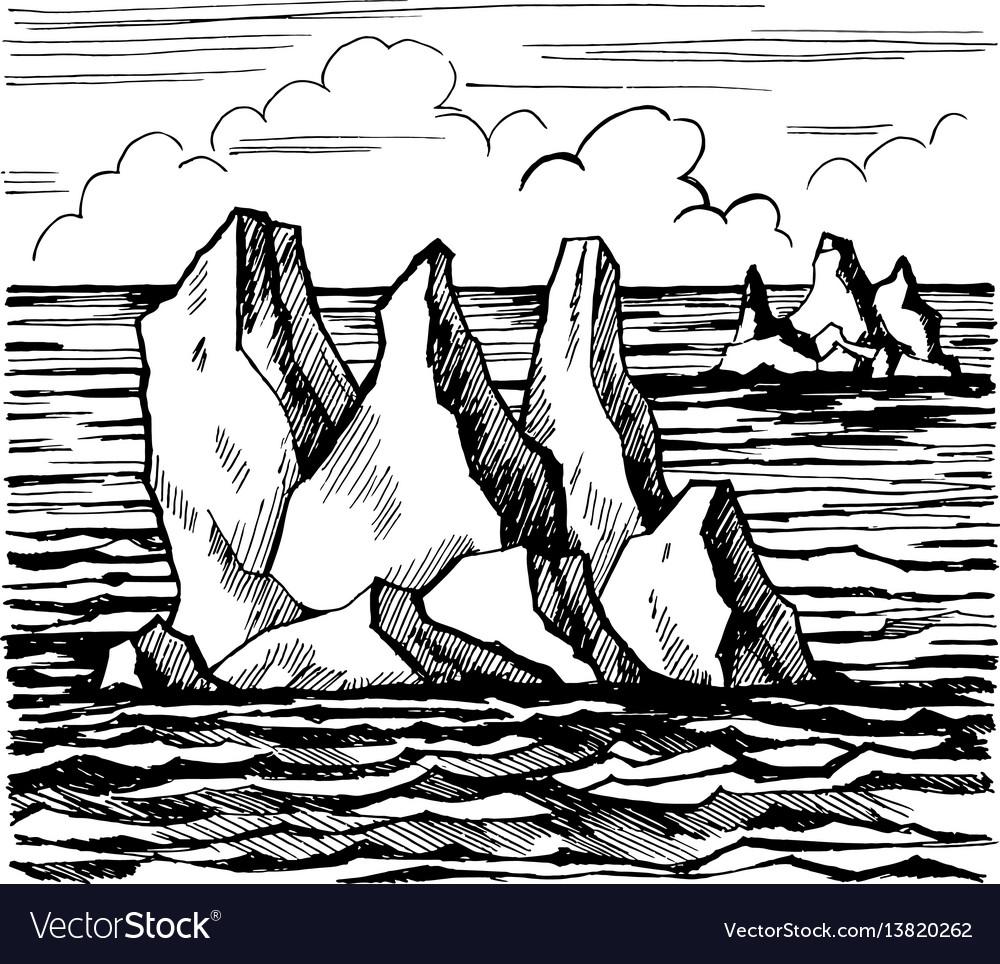Iceberg sketch hand drawn cartoo vector image