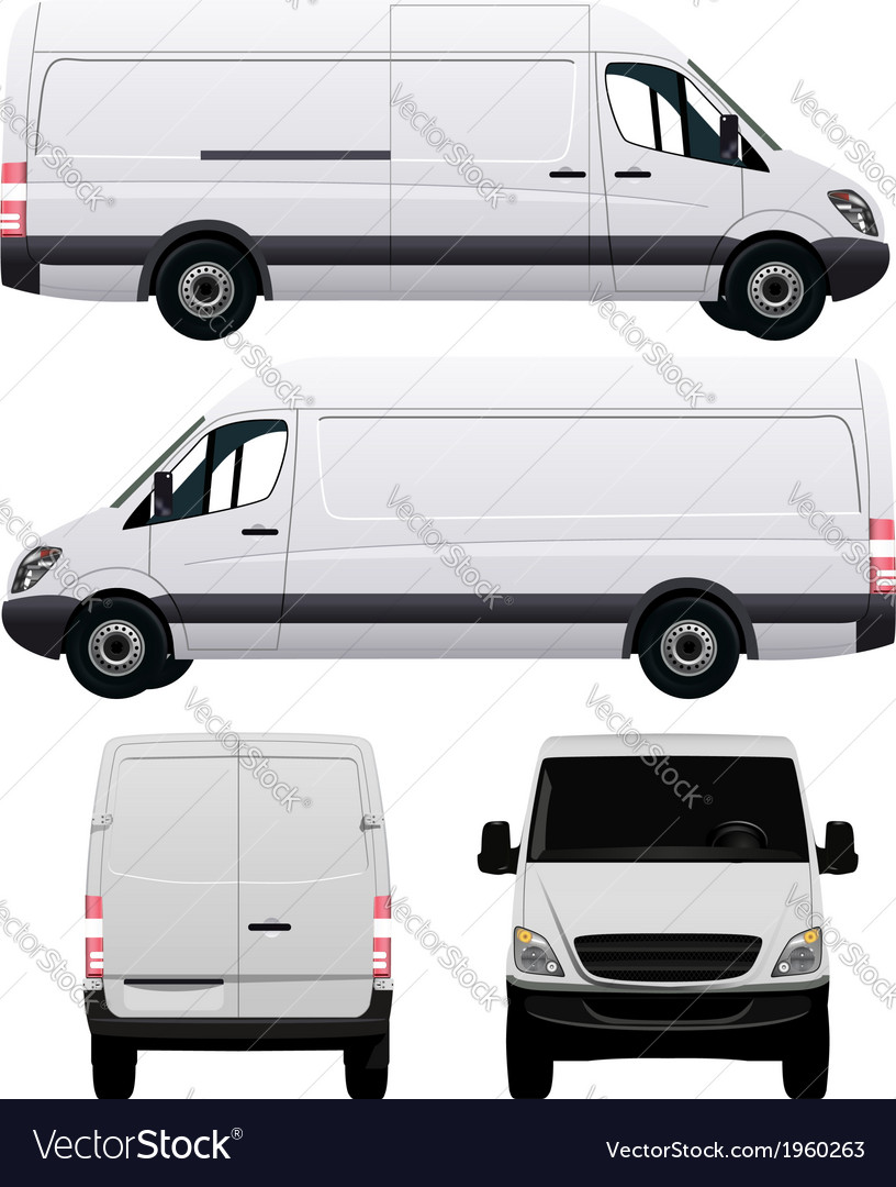 White Commercial Van Vector Image