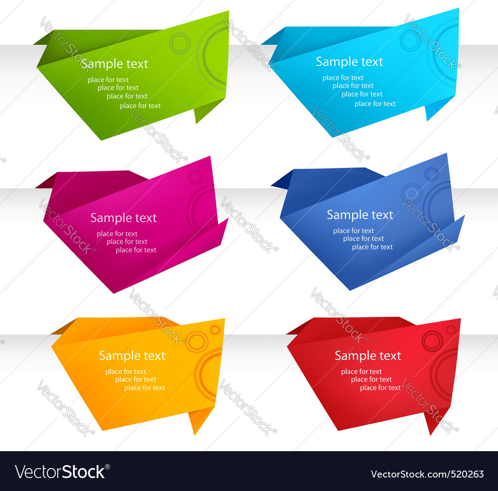 Set with origami baanner vector image