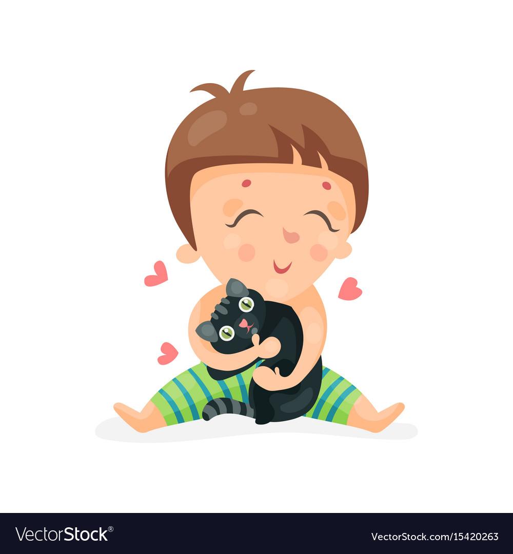 Adorable cartoon toddler baby hugging a black vector image
