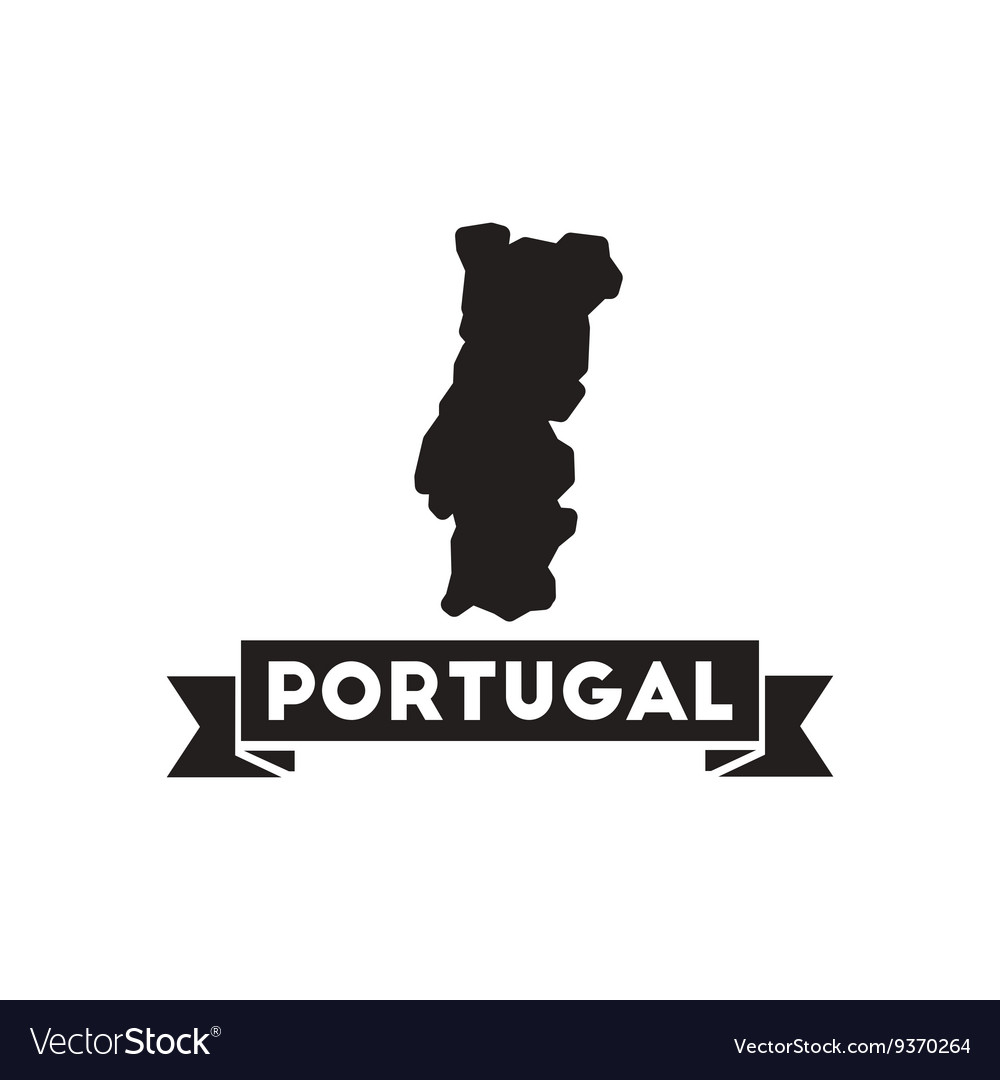 Flat Icon In Black And White Portugal Map Vector Image - Portugal map vector