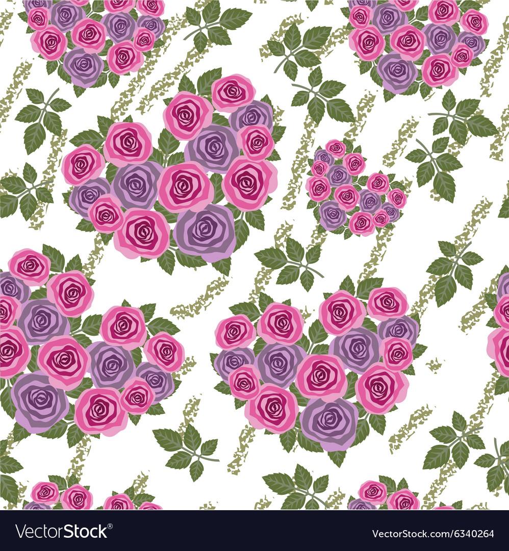 Seamless grunge flower heart texture 530 vector image