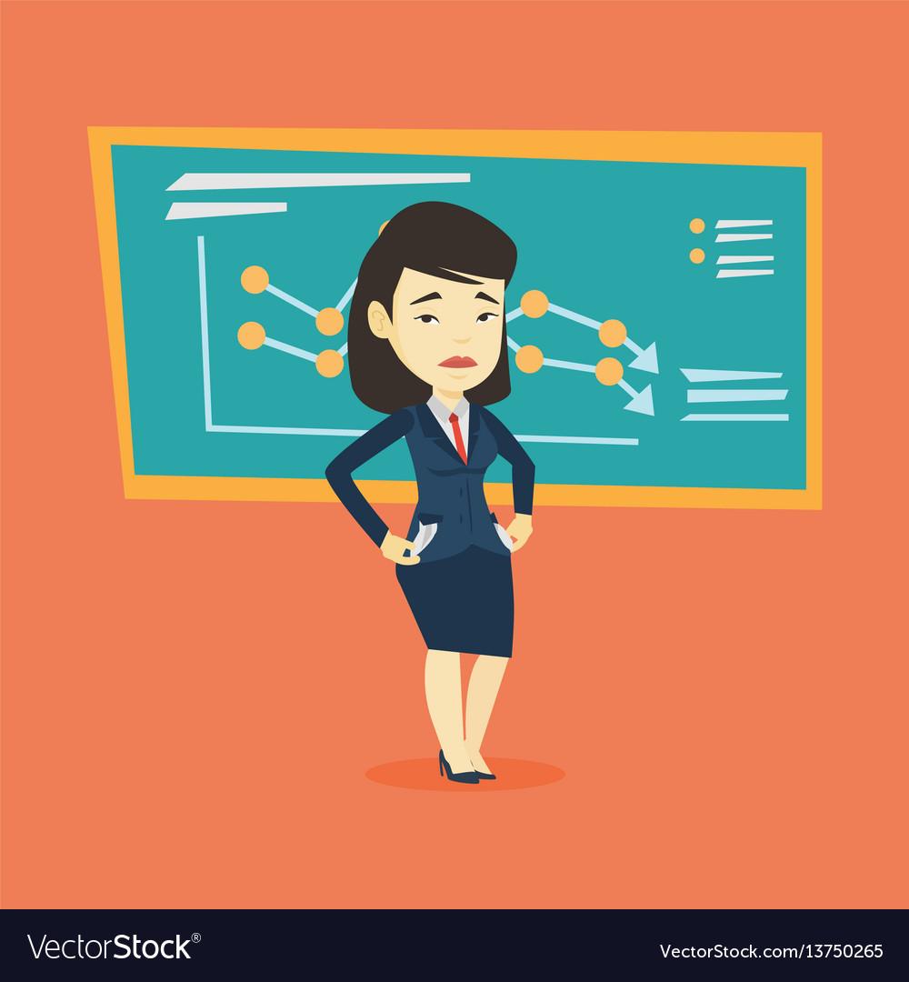 Bancrupt business woman vector image