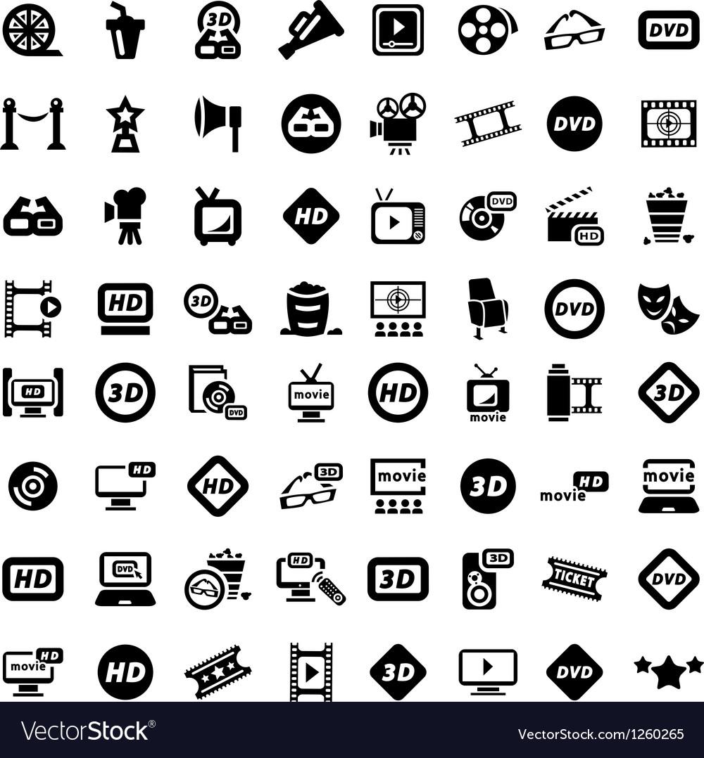 Big movie icon set vector image