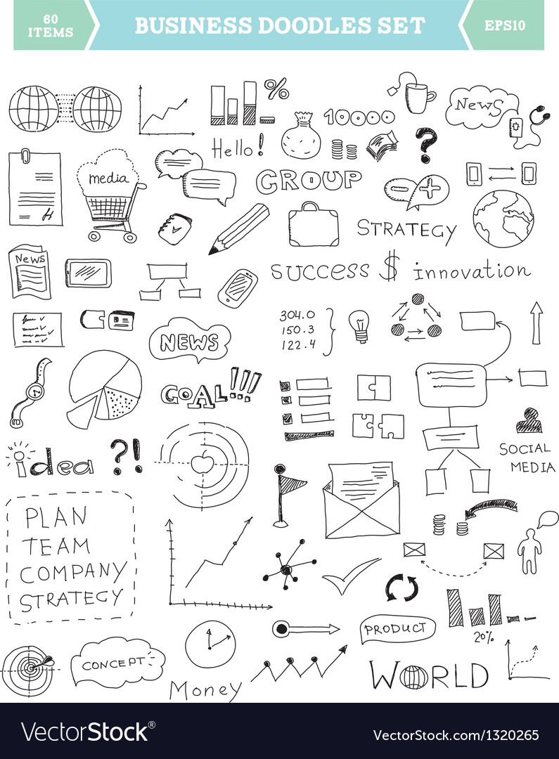Business doodle elements set vector image