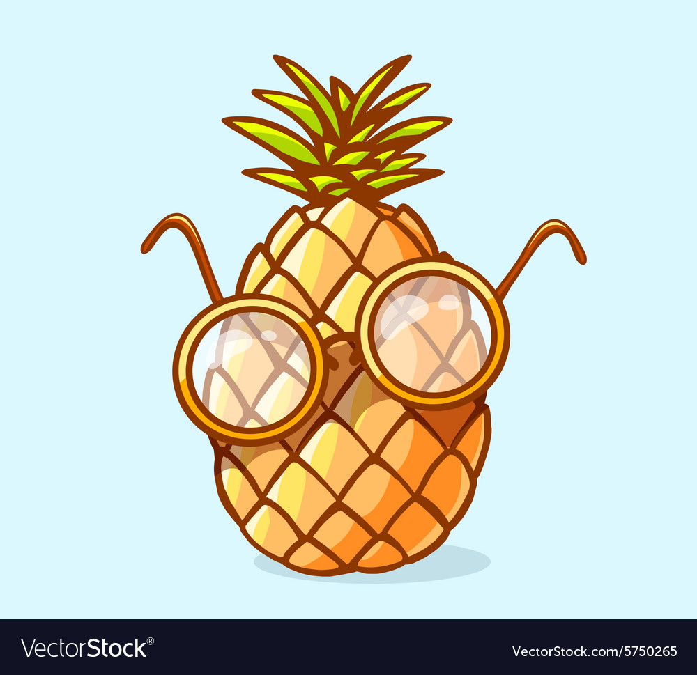 pineapple with sunglasses clipart. colorful nerd pineapple with glasses on b vector image sunglasses clipart d