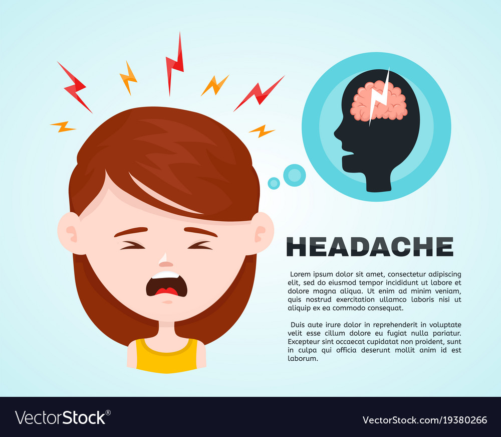 Flat women with a headache vector image