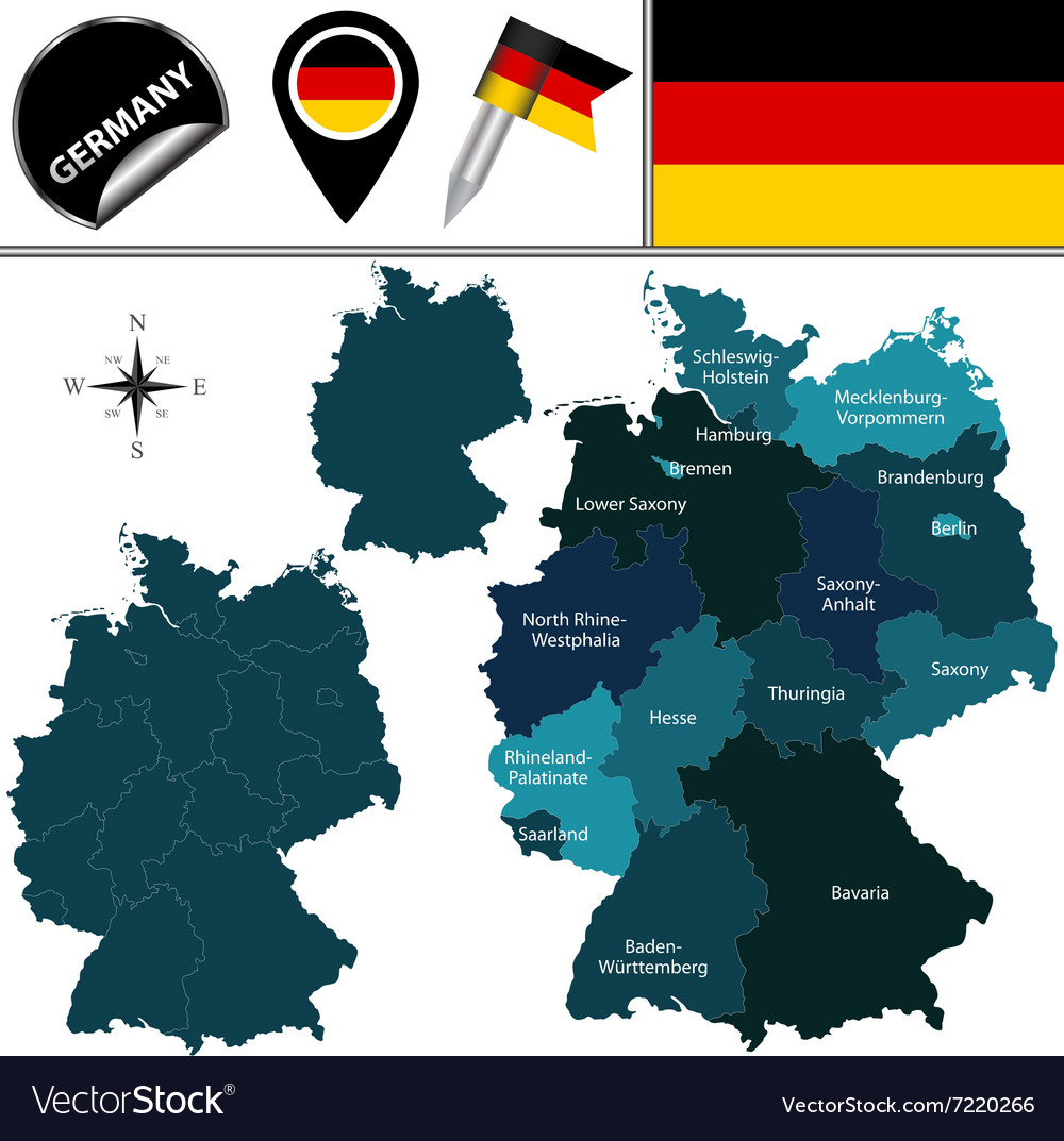 Germany map with named divisions Royalty Free Vector Image