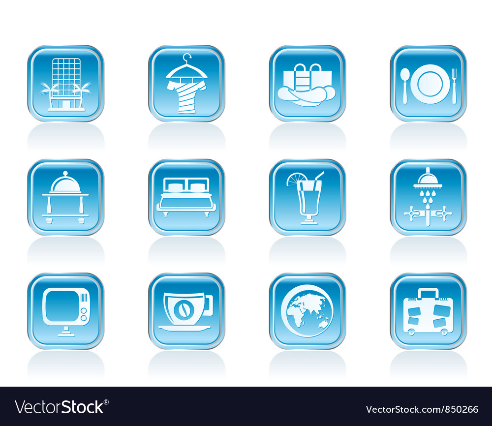 Motel and holidays icons vector image