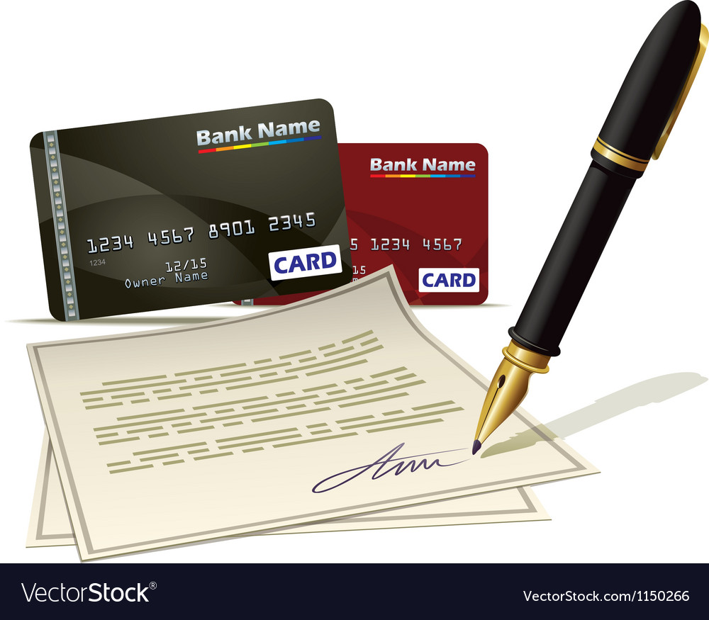 Paperwork for plastic card vector image