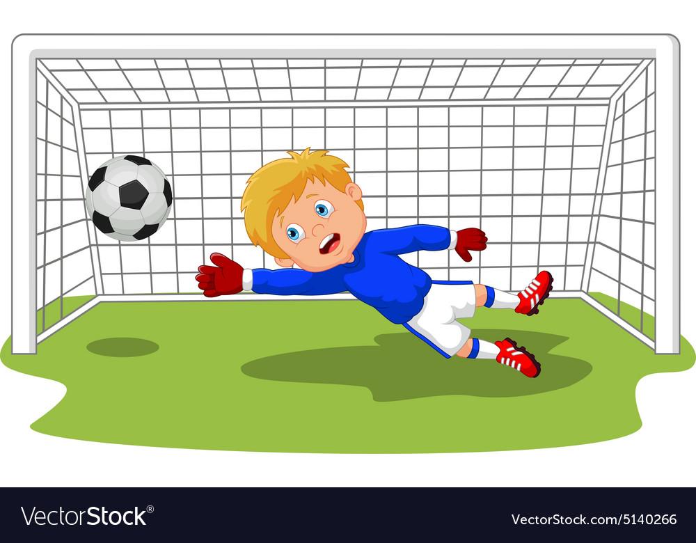 Soccer football goalie keeper saving a goal vector image