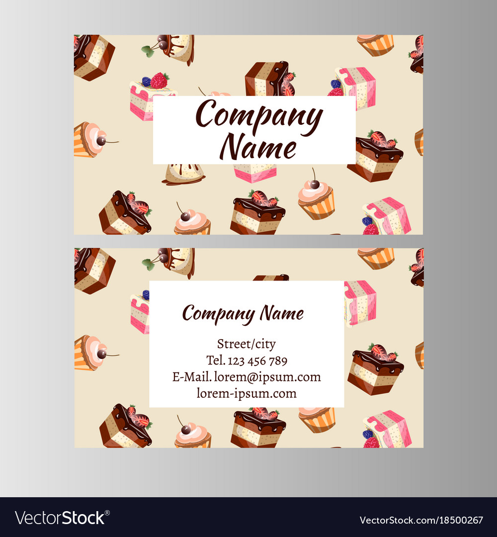 Business card design template with tasty cakes vector image cheaphphosting Images
