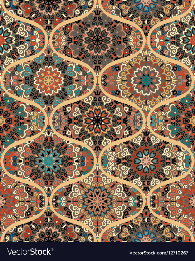 Rounded Mandala Tile Pattern vector image