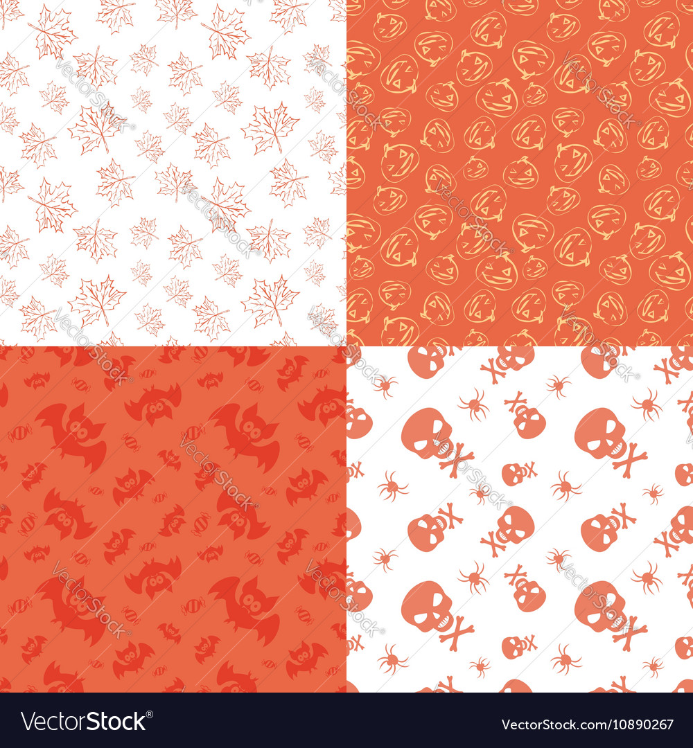 Set of 4 halloween seamless backgrounds vector image