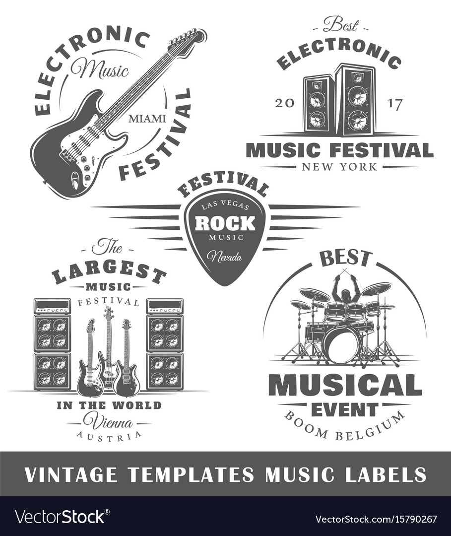 Set of vintage musical labels templates vector image