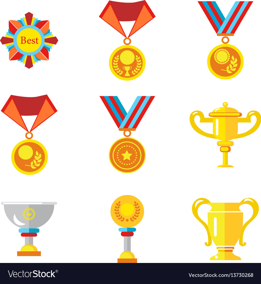 Cups medals awards icons in a flat style on a vector image