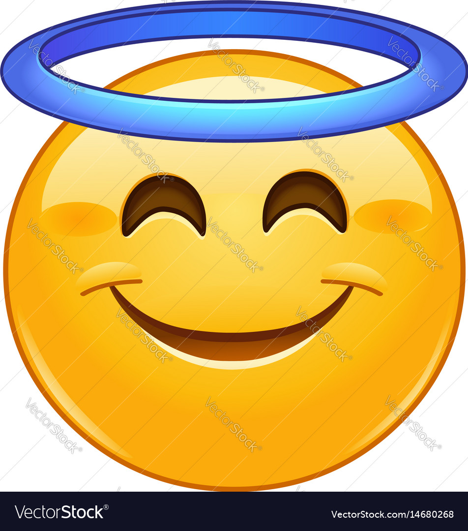 Smiling face with halo emoticon vector image