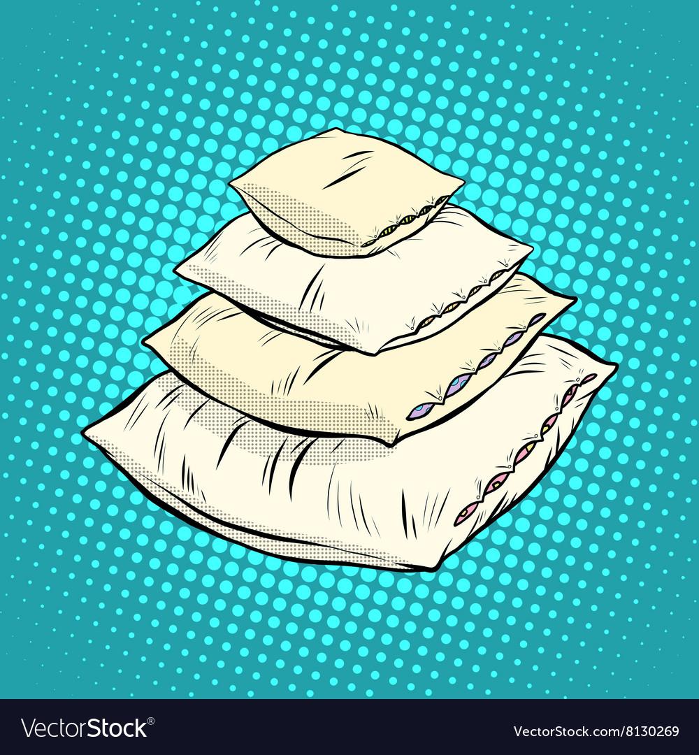 Realistic white pillows retro vector image