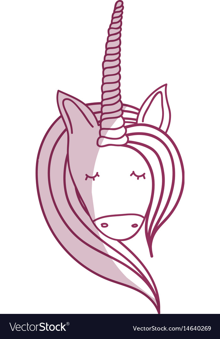 Silhoue beautiful head unicorn with long mane vector image