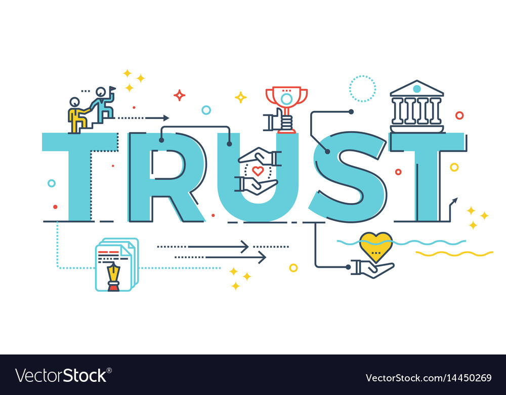 Trust word lettering vector image