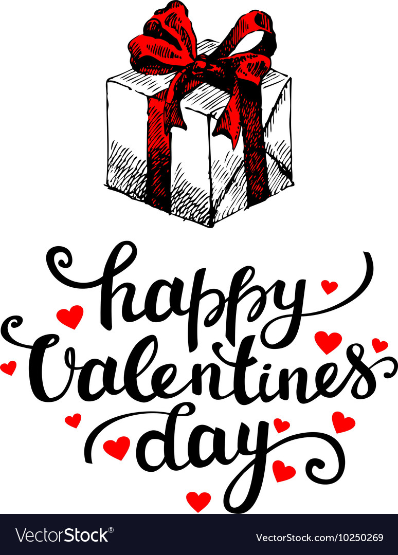 Valentines Day card on white background vector image