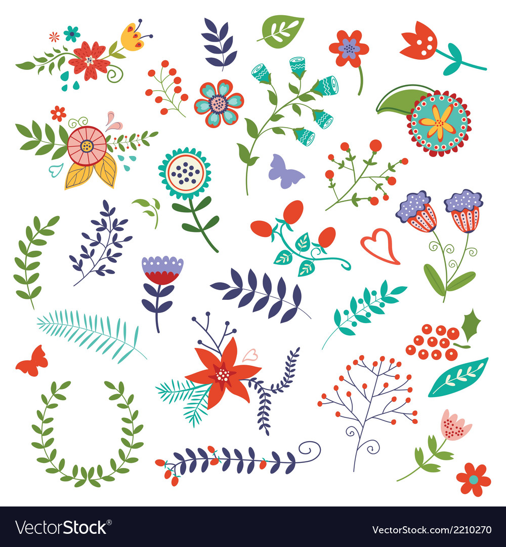 Amazing floral set vector image