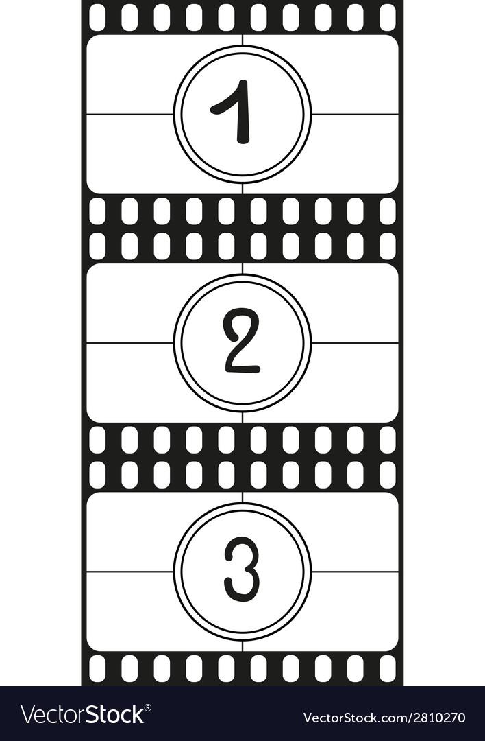 Film countdown numbers part 1 vector image