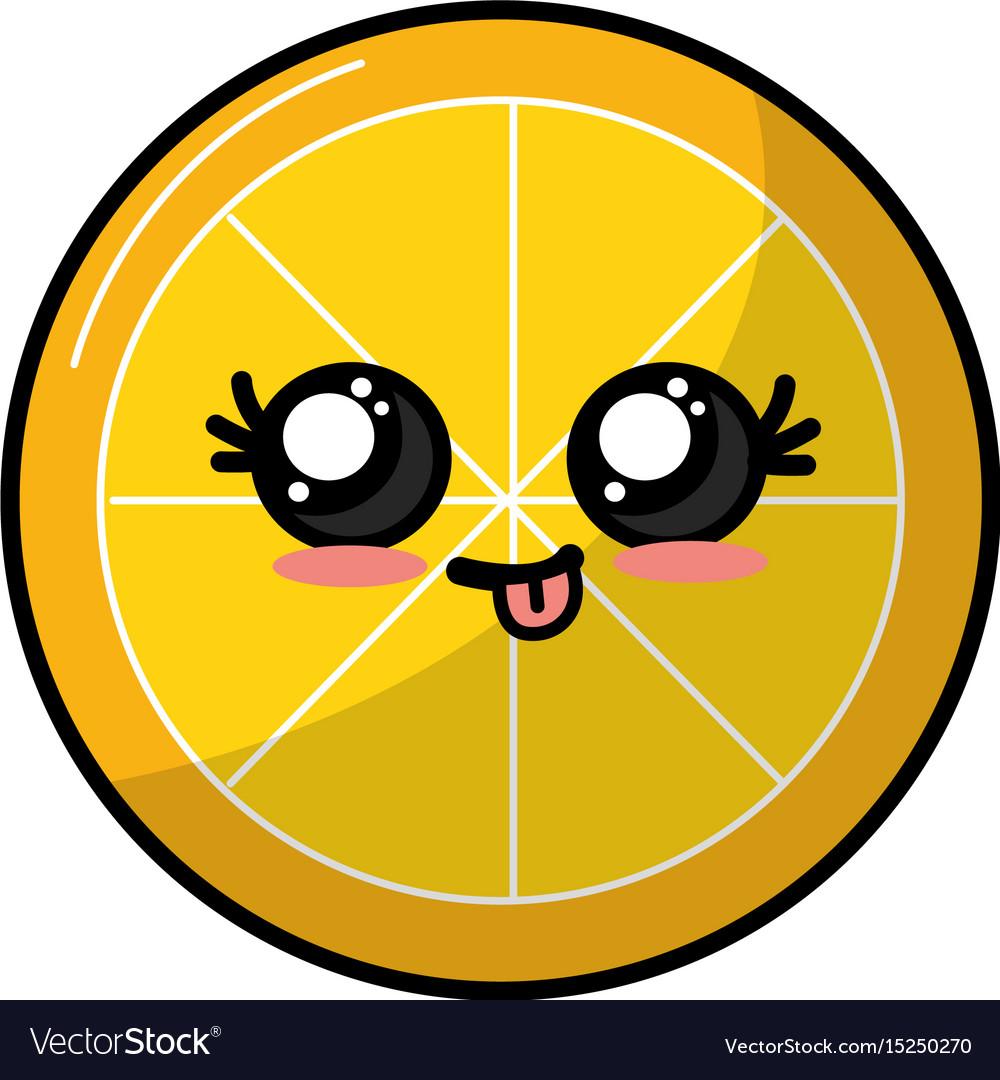 Kawaii cute funny lemon slice fruit vector image