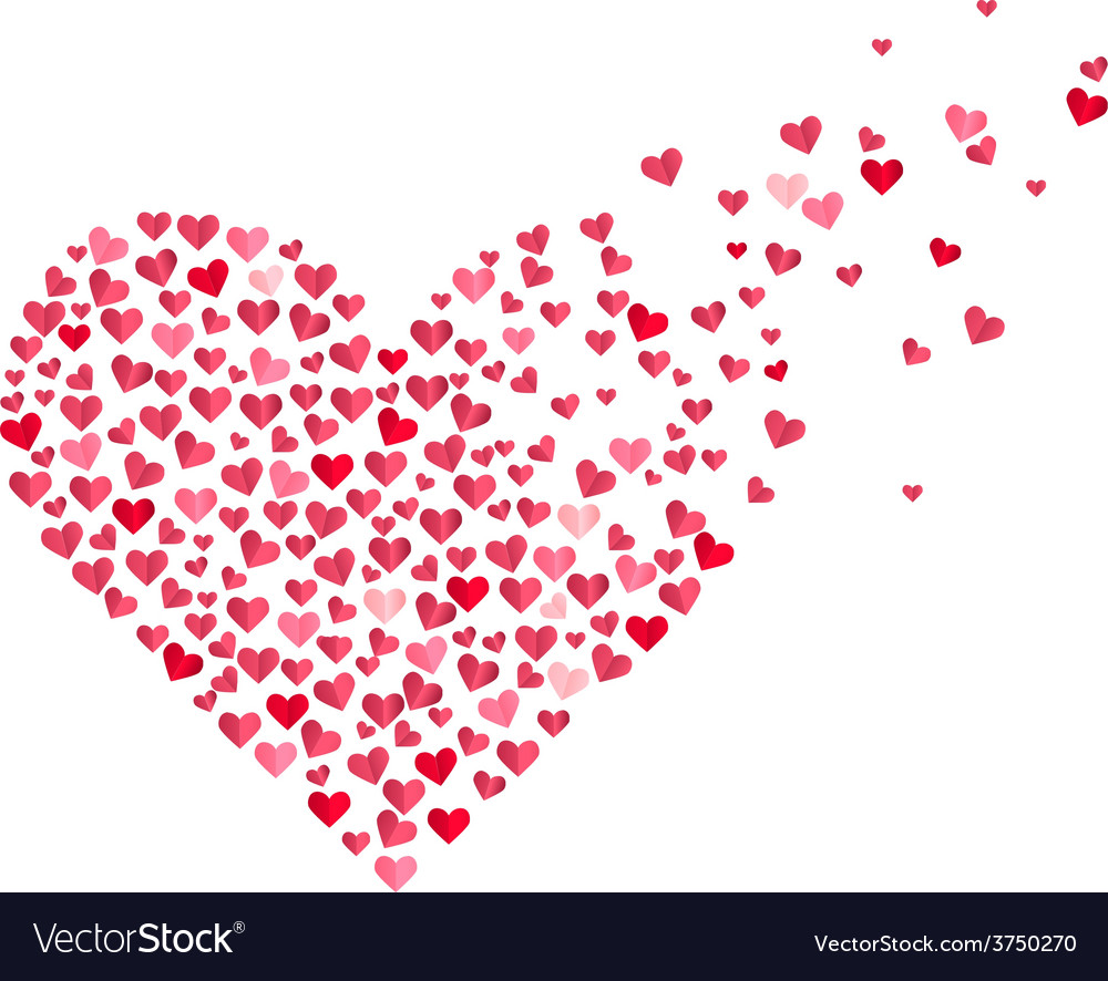 Red Heart Made Of Small Confetti Hearts Vector Image